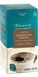 Teeccino Dandelion Mocha Herbal Tea is a coffee alternative made with organic dandelion root tea
