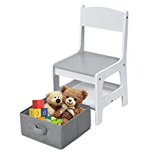 Independent Ability - Costzon 3 In 1 Kids Wood Table & 2 Chair Set, Children Activity Table Desk Sets W/Storage Drawer, Detachable Blackboard For Toddlers Drawing Reading Art Playroom, 3-Piece Kiddy-Sized Furniture (Gray)