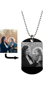 laser-engraved custom photo dog tag keychain personalized message text imprinted photo