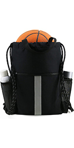 Drawstring Backpack Sports Gym Bag for Women Men Children Large Size with Zipper