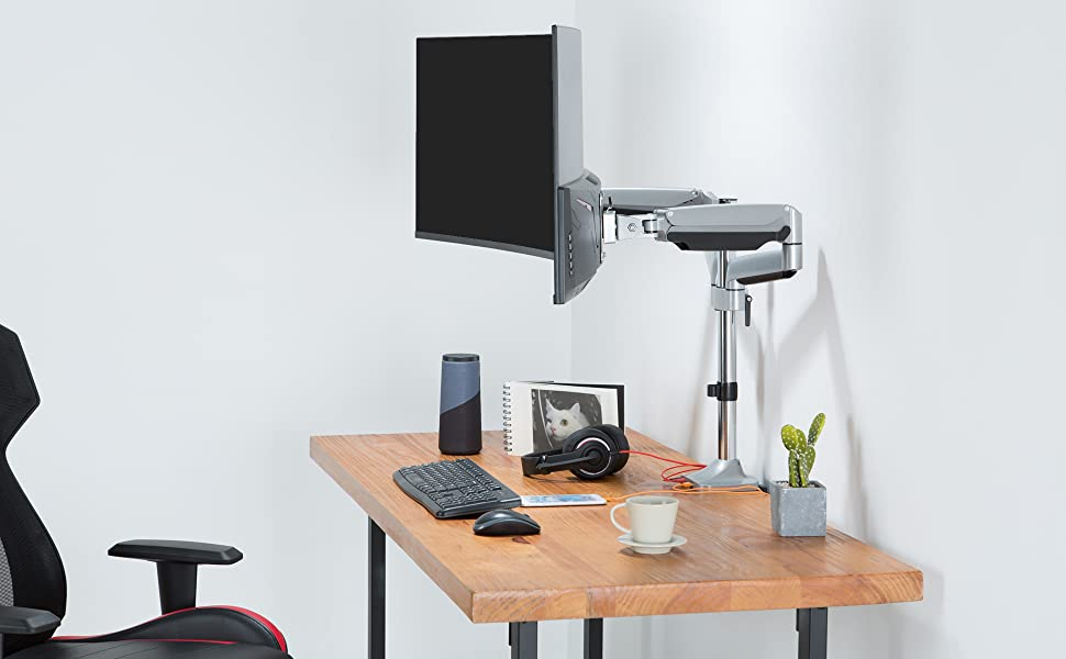 angles and heights that you want. Securely raise the monitors up to a standing people's eye level.