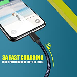 speed charging cable, high speed data transfer cable, 3A fast charging cable