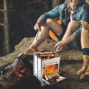 Camping Foldable Backpack Stove Portable Wood Burn Cook Picnic BBQ UK F1U3