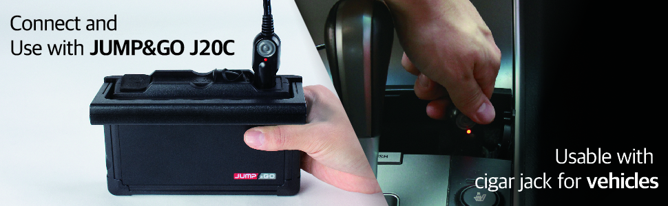 Connect and Use with jumpamp;go J20C Usable with cigar jack for vehicles