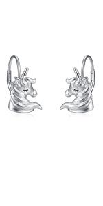 Silver Unicorn Earrings