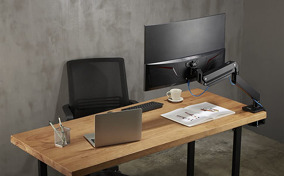 is a premium quality full-motion desk mount utilizes a gas spring mechanism to