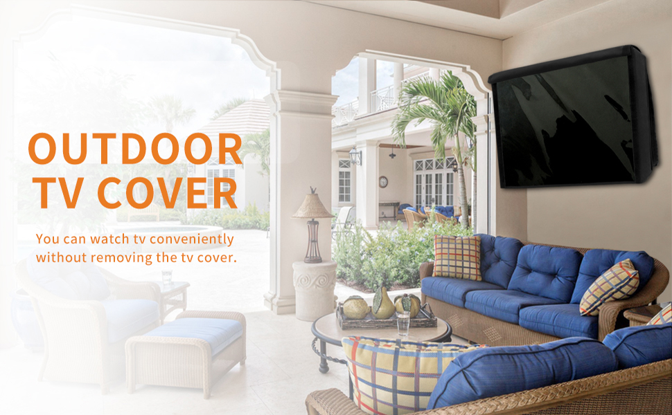 Durable TV Cover with Free Cleaning Cloth Easy-Going Outdoor TV Cover 40-42 inch with Front Flap for Watching TV on Rainy Days,Convenient Use Without Remove 40-42 inch,Black