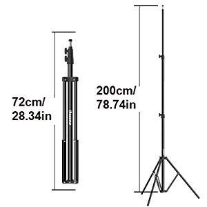 Dazzne 6.5Ft//2M Photography /& Video Ring Light Stand Tripod Aluminum Alloy for Photo Relfectors Softboxes Umbrellas Backgrounds Video Studio Lighting Monolight