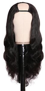 body wave u part human hair wig