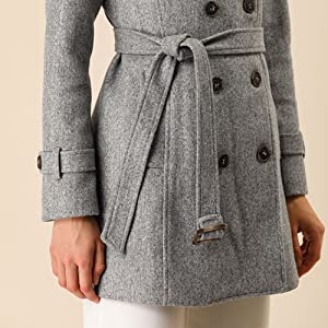 Women's Double Breasted Belted Coat with Slant Pockets