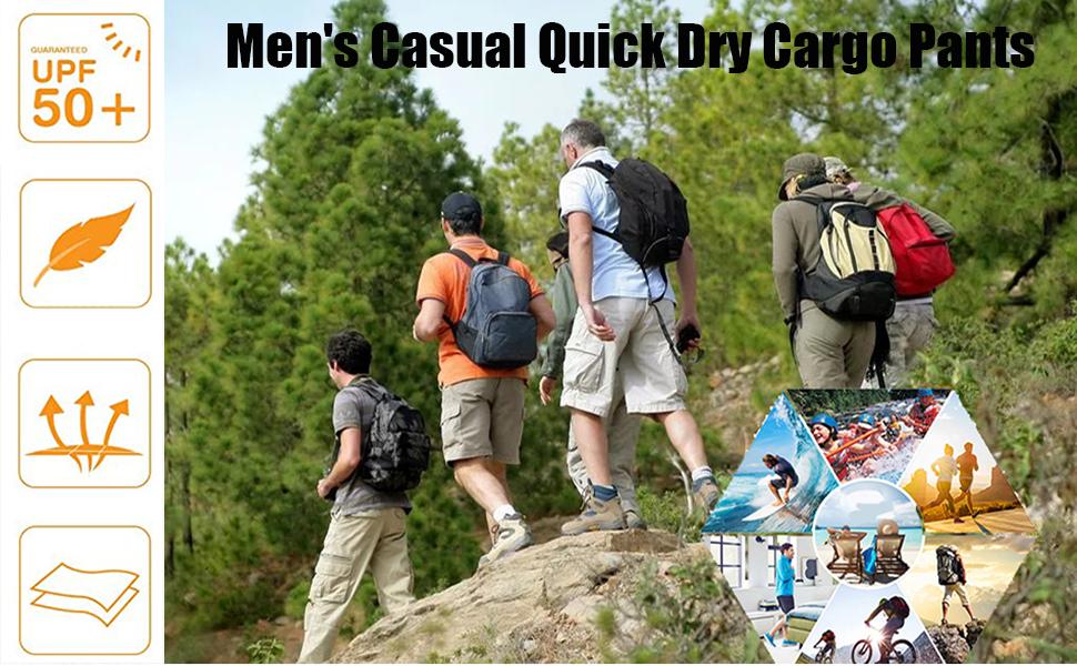 Men's Tactical Pants, Water Repellent Ripstop Cargo Pants, Lightweight EDC Hiking Work Pants