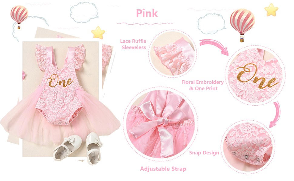 toddler baby girl clothes one print lace romper birthday outfit pink