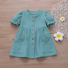 Toddler Baby Girl Cotton Linen Button Pocket Ruffle Solid Floral Dresses