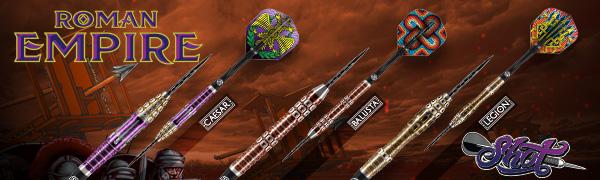 Shot! Darts Roman Empire Legion Steel Tip Dart Set-95% Tungsten Barrels