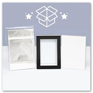 clear bag with mat board backing set pack