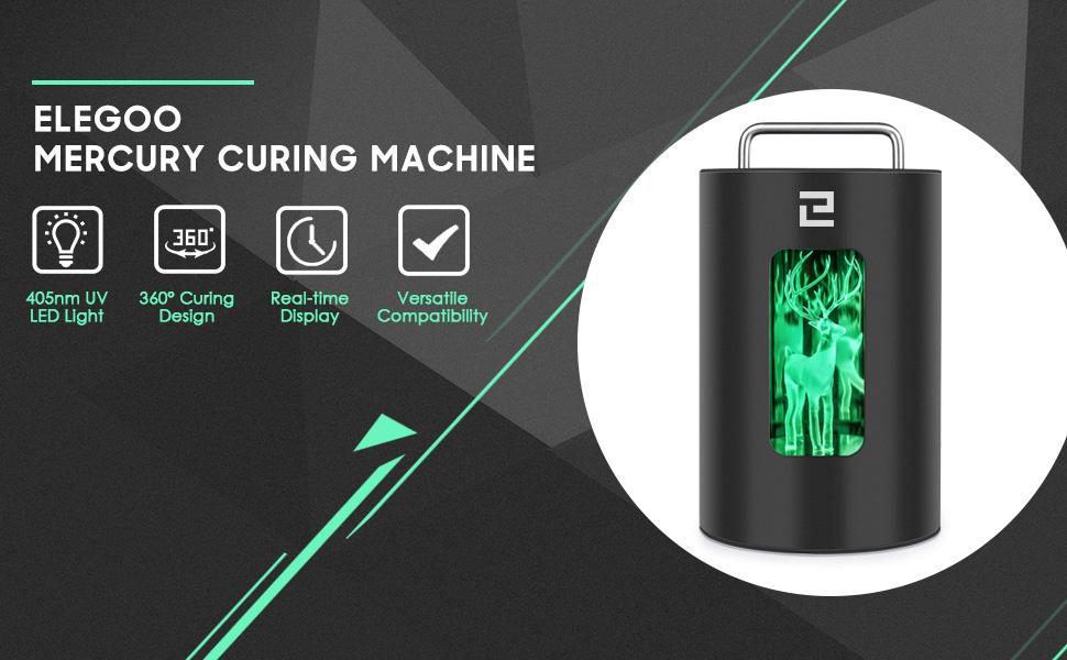 ELEGOO Mars UV Photocuring LCD 3D Printer and ELEGOO Mercury Curing Machine 405nm Resin UV Curing Box Bundle
