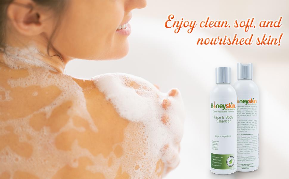 honeyskin face and body wash clean soft nourished skin