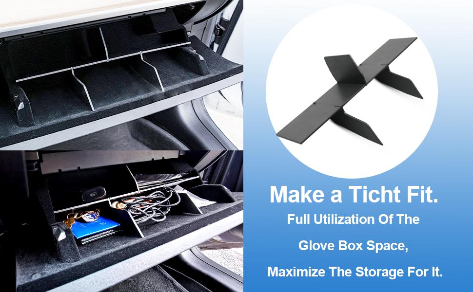 Vehicle Styling Accessories Replacement Storage Lattice Internal Storage Insert Divider Center Console Organizer LFOTPP Glove Box Organizer for Tesla Model 3