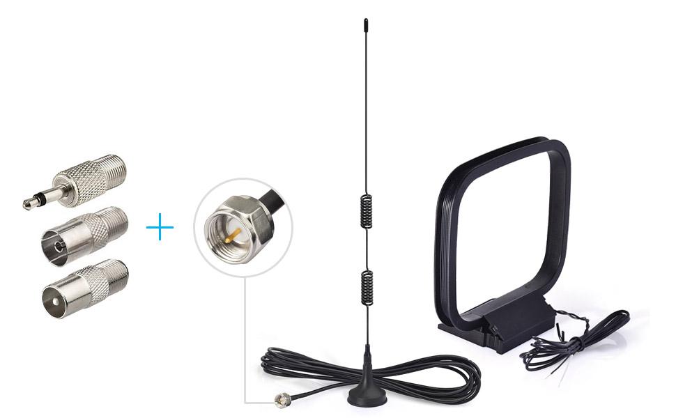 Bingfu Magnetic Base HD Radio FM Antenna and AM Loop Antenna