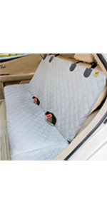 Dog bench seat protector with two mesh pocket design is waterproof, chemical-free, perfect for kids.