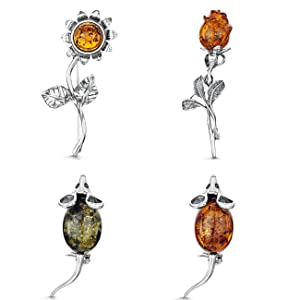 Amberta 925 Sterling Silver with Genuine Baltic Amber - Mouse Brooch/Pin for Women