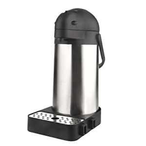 74 Oz (2.2L) Airpot Thermal Coffee Carafe/Lever Action/Stainless Steel Insulated Airpot w/ Drip Tray