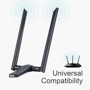BrosTrend 1200Mbps Linux Adaptador WiFi USB de Largo Alcance, Banda Dual 5 GHz/867Mbps + 2,4 GHz/300Mbps, 2 Antenas WiFi de 5dBi, Soporta Ubuntu, ...