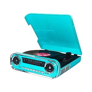 Lauson 01TT15 Tocadiscos Diseño Vintage Coche de Colección con 2 Altavoces Estéreo Integrado de 3 W | Tocadisco Vinilo con Radio FM, Función ...