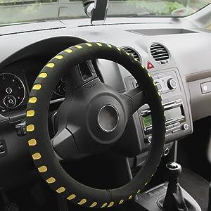 Alca 596500 Lenkradhülle Gelb Lenkradabdeckung Lenkradschoner Softer Schaumstoff Auto