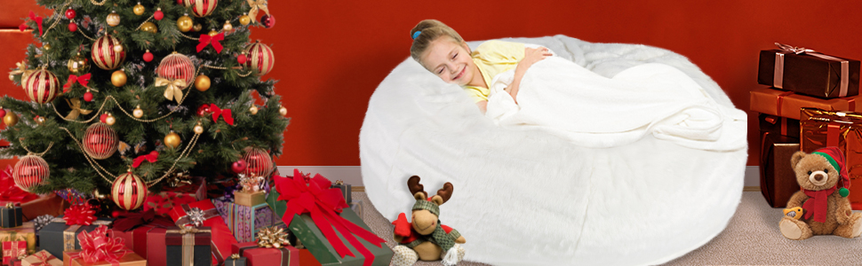 LUCKYERMORE Faux Fur Bean Bag Sofa Chair Soft for Kids Adults