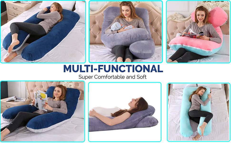 Full Body Pregnancy Pillow Maternity Pillow for Pregnant Women U Shaped with  Washable Velvet Cove