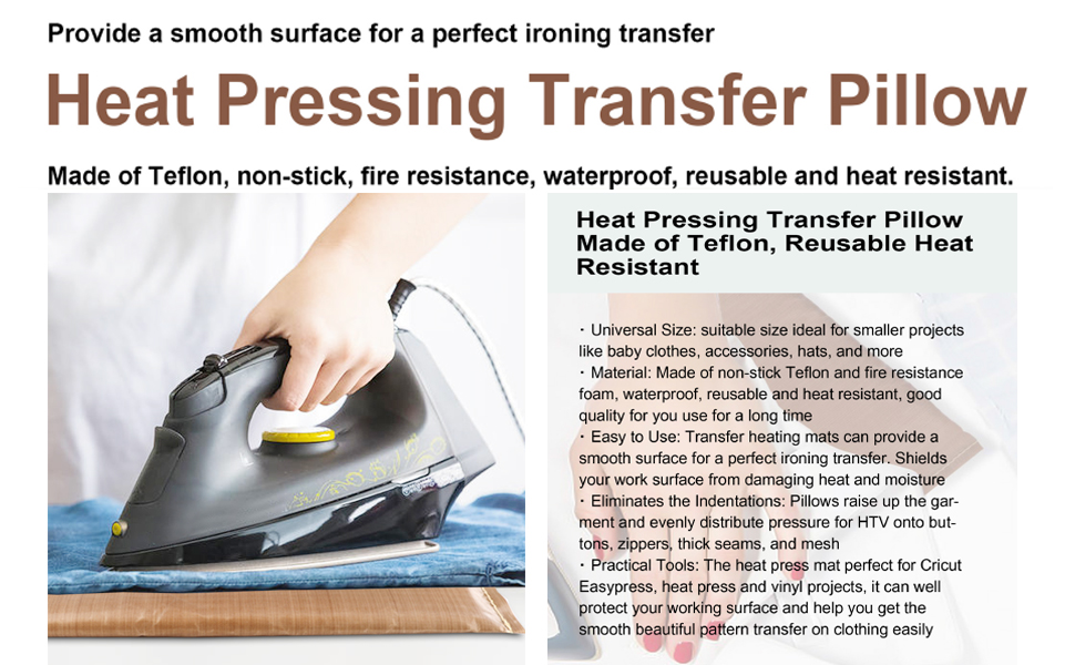 Teflon Heat Resistant Pressing Pillows for Screen Print and Heat Pressing Shirts 5x7
