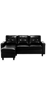 Black PU Sofa Couch
