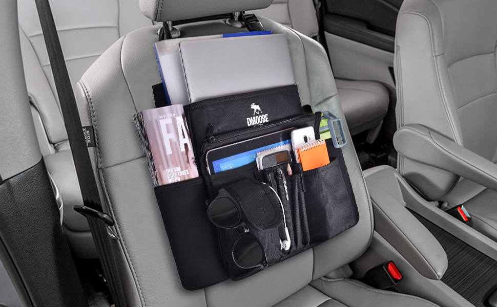 Nobranded Car Front Seat Organizer with Laptop and Tablet Storage,Folder Sleeves Black with Black Line and Space Saving Compartments