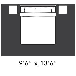 9'6quot; x 13'6quot; Bedroom Area Rug Placement