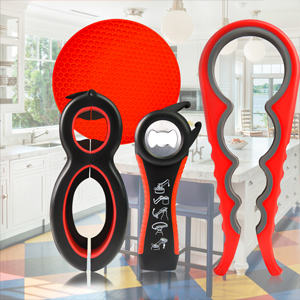 Multi Function Can Opener Bottle Opener Silicone Handle Easy to Use Elderly and Arthritis Sufferers