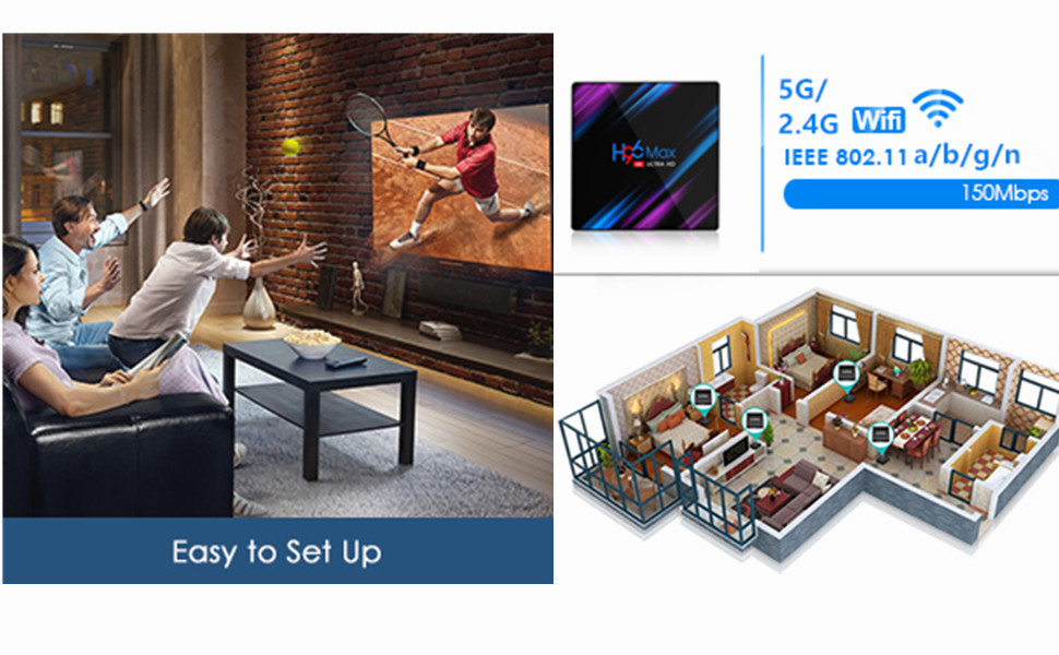 Android 9.0 TV Box, H96 MAX 4GB 64GB Android Box USB 3.0/BT 4.0/2.4G 5G Dual WiFi/3D/4K/H.265 KD18.1 Smart Android TV Box: Amazon.es: Electrónica