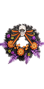 Halloween Wreath with Pumpkin and Skull