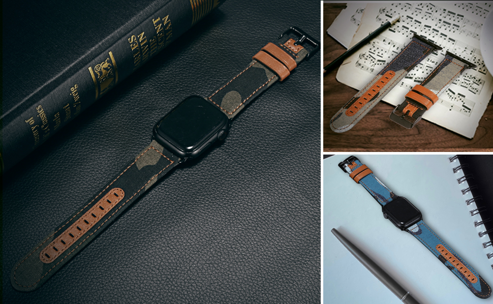 apple watch leather band black