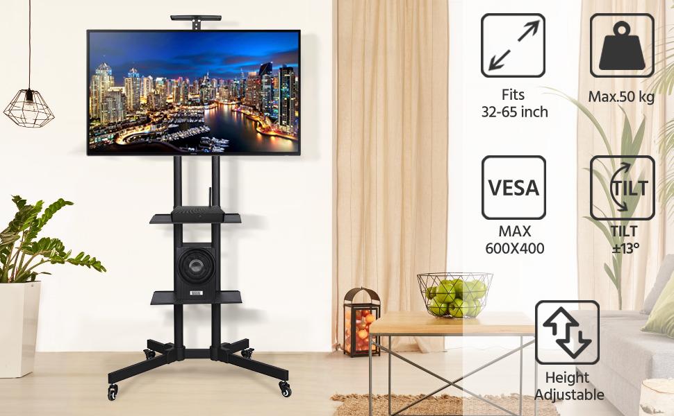 Yaheetech Soporte TV de Suelo con 3 Estantes con Ruedas Altura Ajustable Giratorio Universal Carro de TV de Pie para Pantallas de 32 a 65 Pulgadas Carga de 50 kg: Amazon.es: Hogar