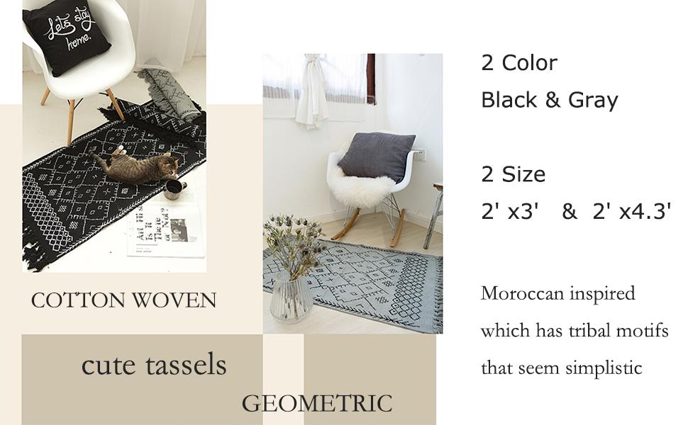 boho bathroom rug black white bath mat tassels rug woven cotton area rug pattern small modern aztec