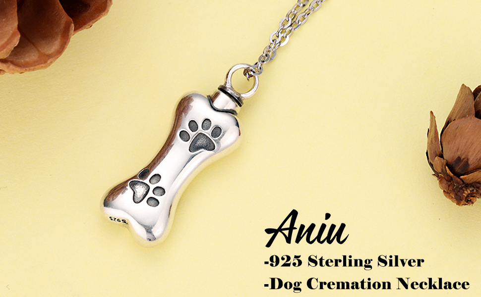 Dog Pet Urn Necklace Pendant Jewelry Gold Crystal Bone In Silver Heart Holds Ashes Cremation With or Without Chain Memorial Gift Ladies Love