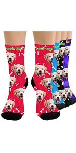 Custom Funny Face on Socks Customized Best Dog Unisex Crew Socks Personalized Photo Socks Valentine Gifts For Men Women