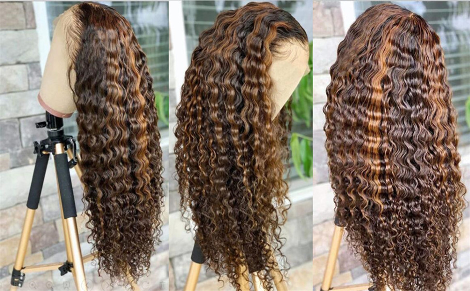 highlight human lace front wig