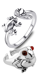 Cute Frog Open Rings Natural Insect Animal Lovely Jewelry Frog Lover Gift Fashion Party Jewelry Gift