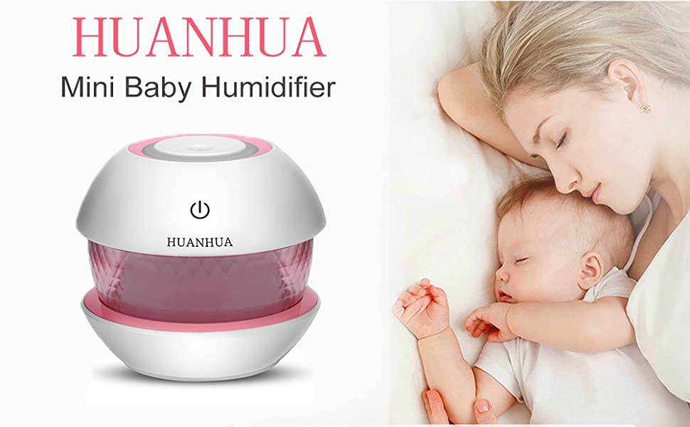 HUANHUA Cool mist humidifier, 150 ml baby humidifier for bedroom with 7 Colors LED Changing Lights for Yoga, Spa, Baby Room, Bedroom, Office,Car