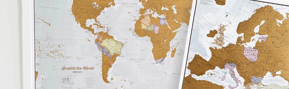 Póster del Mapa Mundi de Rascar + REGALADO: Un Mapa Rascable de Europa | Diseñando Mapas para 50 años | Maps International - Detalles Cartográficos: Amazon.es: Amazon.es
