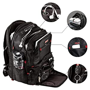 Extra Large Backpack,TSA Friendly Durable Travel Backpack with USB Charging Port/Headphones Hole