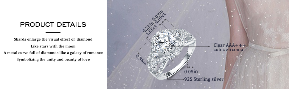 EEPIRR 925/Sterling/Silver/Engagement Ring,1.55ct Round Cut Cubic Zirconia Wedding//Anniversary Halo Rings for/Women Size 4-10