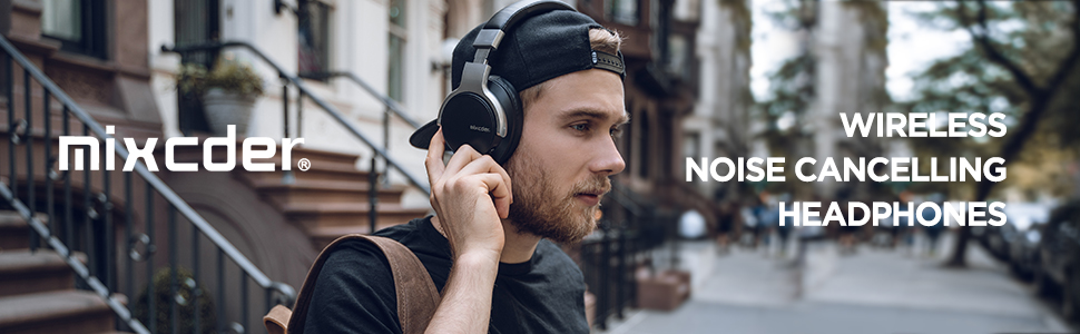 Mixcder E7 Active Noise Cancelling Wireless Headphones -  Black
